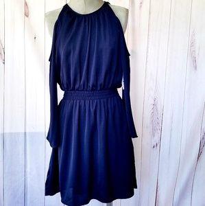 AQUA DARK BLUE OPEN SHOULDER DRESS NWT
